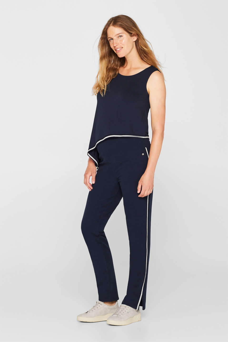 Stretch jersey trousers with racing stripes, LCNIGHT BLUE, detail image number 1