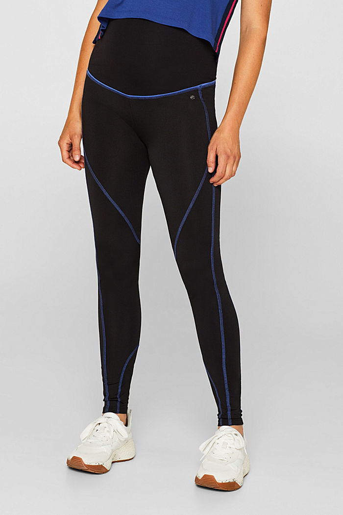 Leggings with contrasting stitching, over-bump waistband, BLACK, detail image number 0