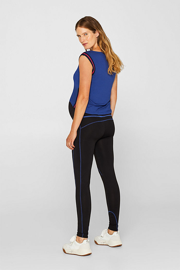 Leggings with contrasting stitching, over-bump waistband, BLACK, detail image number 3