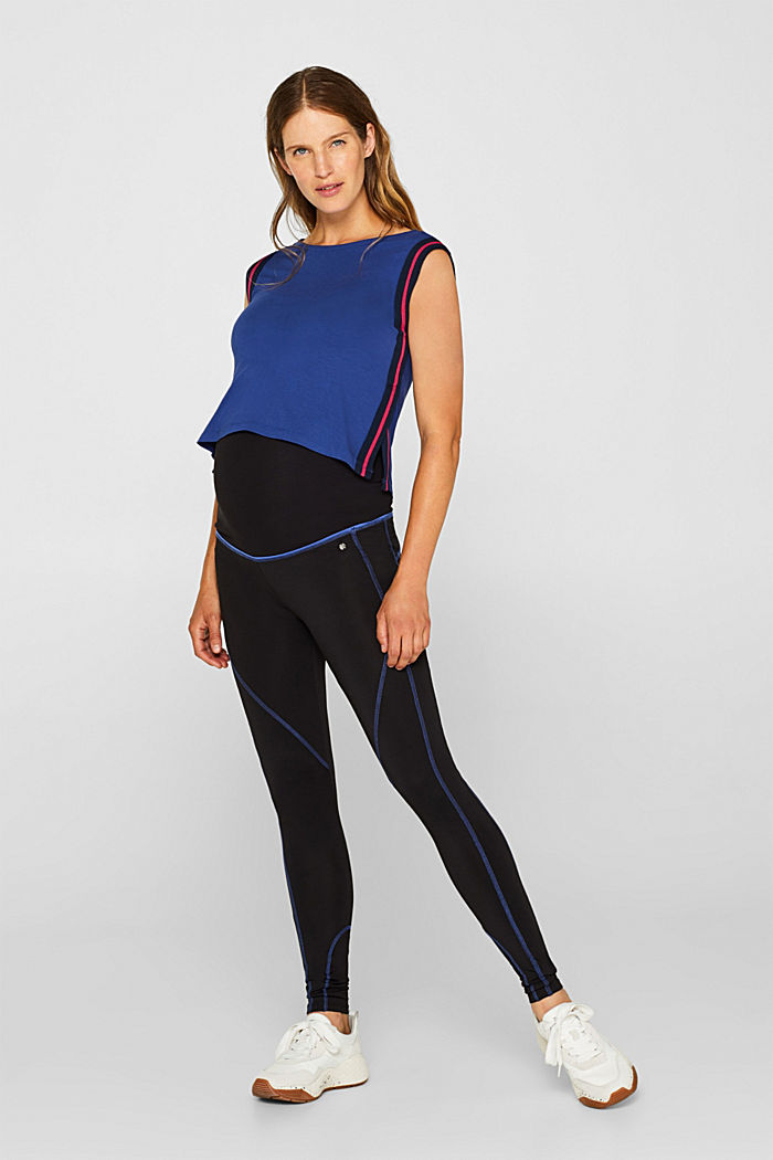 Leggings with contrasting stitching, over-bump waistband, BLACK, detail image number 1