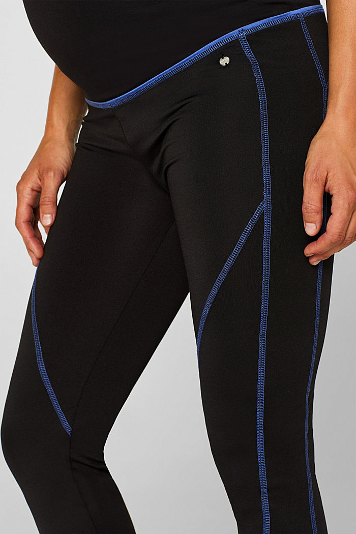 Leggings with contrasting stitching, over-bump waistband, BLACK, detail image number 2
