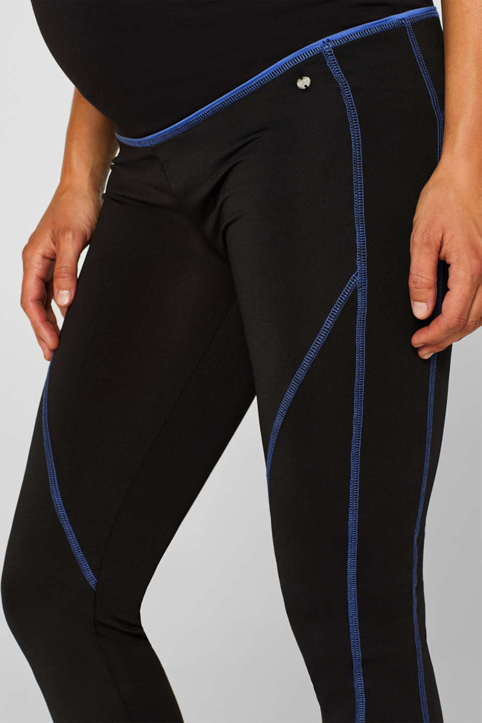 Leggings with contrasting stitching, over-bump waistband, LCBLACK, detail image number 2
