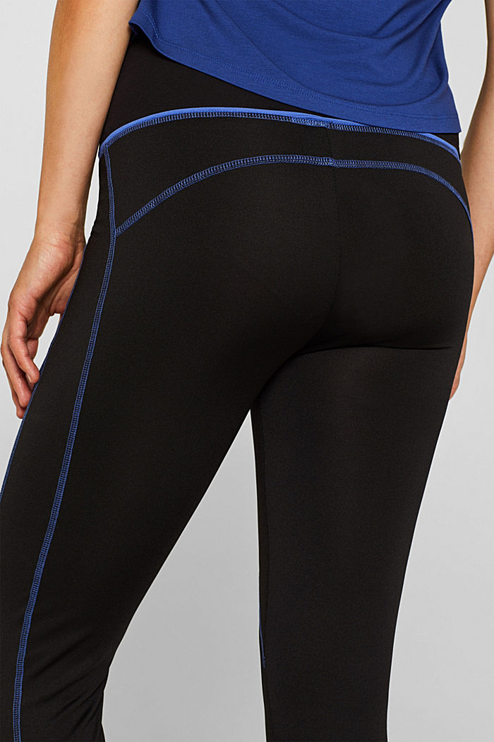 Leggings with contrasting stitching, over-bump waistband, BLACK, detail image number 5