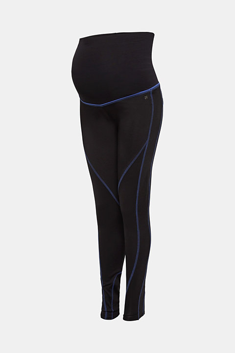 Leggings with contrasting stitching, over-bump waistband