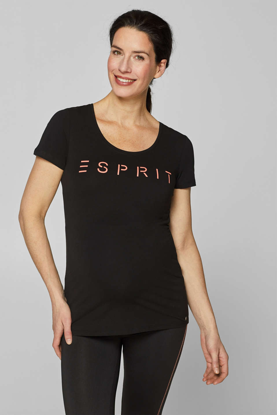 Esprit - Stretch-Shirt mit Neon-Logo