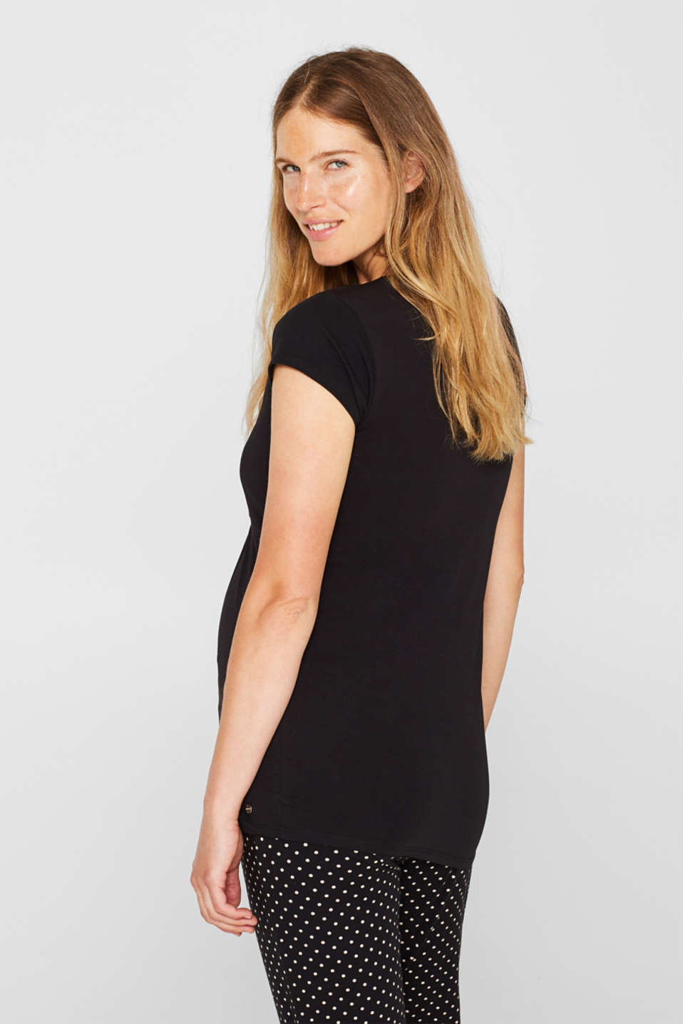 Stretch nursing top with organic cotton, LCBLACK, detail image number 2