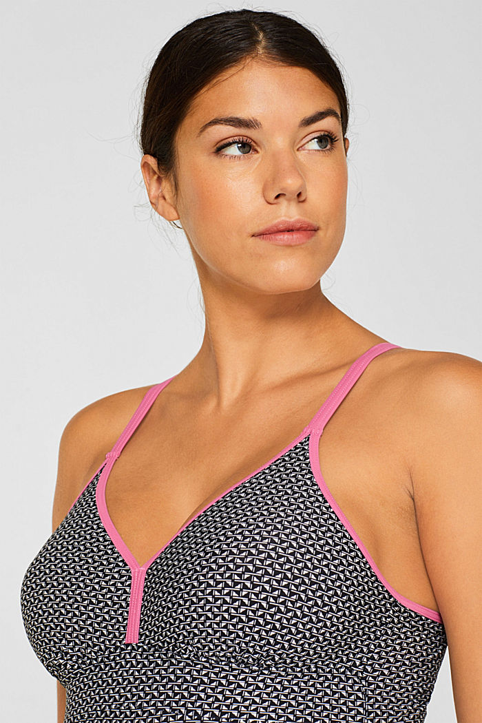 Padded swimsuit with a mini print, BLACK, detail image number 3