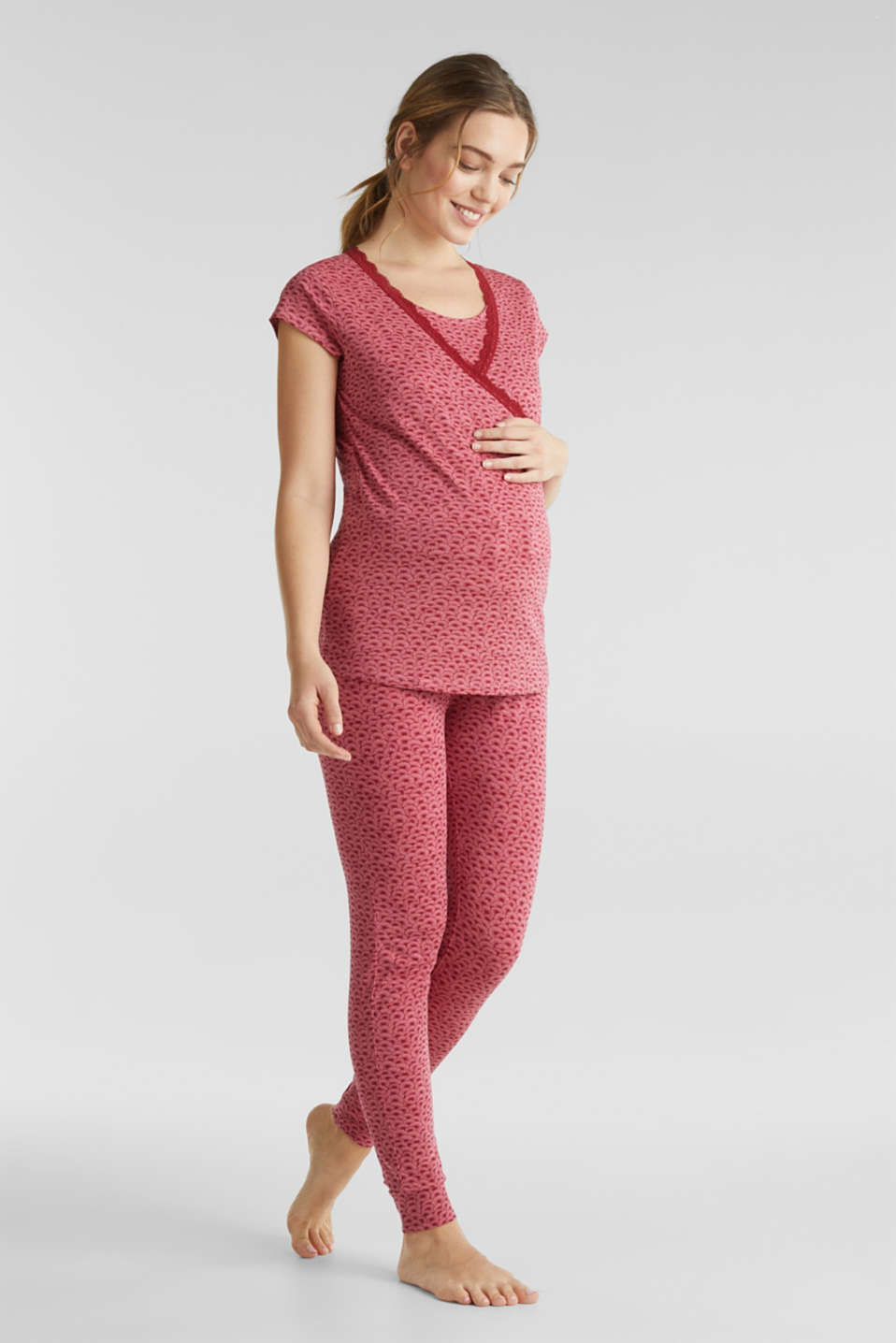 Stretch jersey trousers with an under-bump waistband, LCBLUSH, detail image number 0