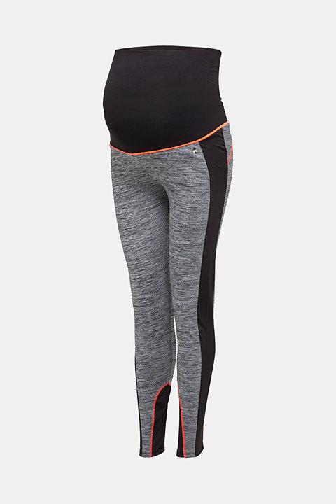 Colour block leggings with an over-bump waistband