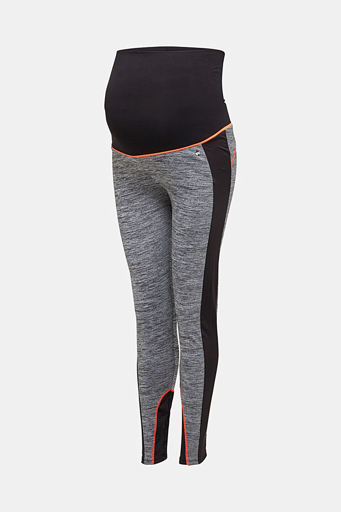 Colour block leggings, over-bump waistband, BLACK, detail image number 3