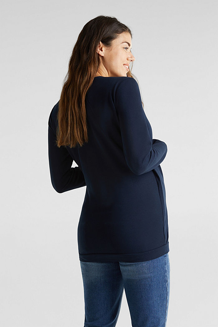 Stretch cotton sweatshirt, NIGHT BLUE, detail image number 3