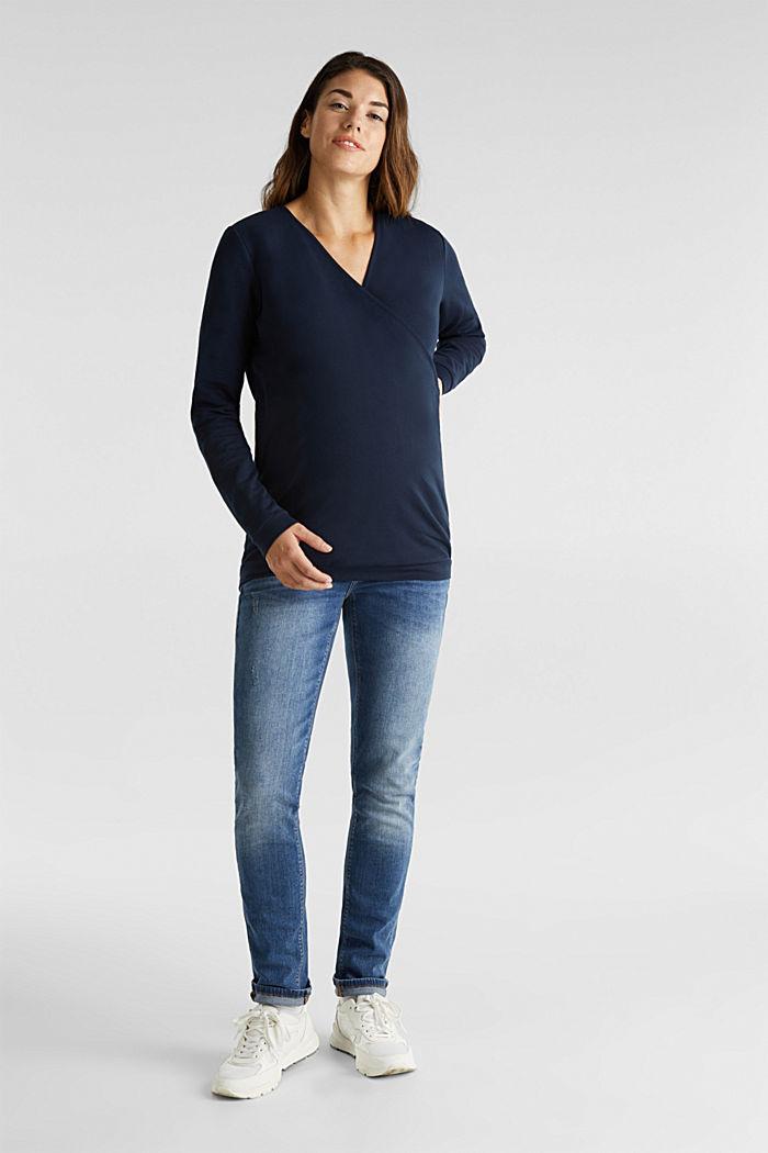 Stretch cotton sweatshirt, NIGHT BLUE, detail image number 1