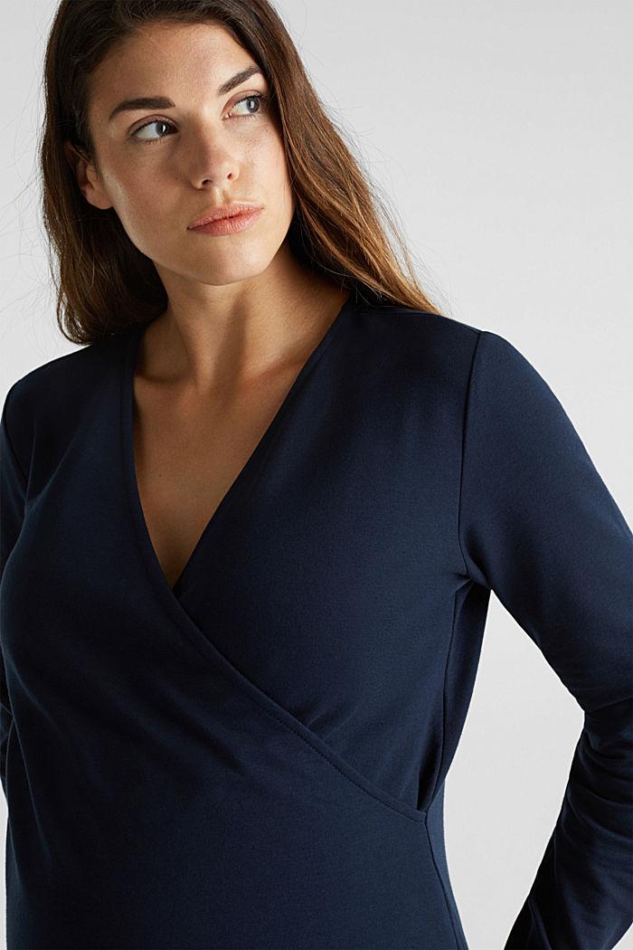Stretch cotton sweatshirt, NIGHT BLUE, detail image number 2