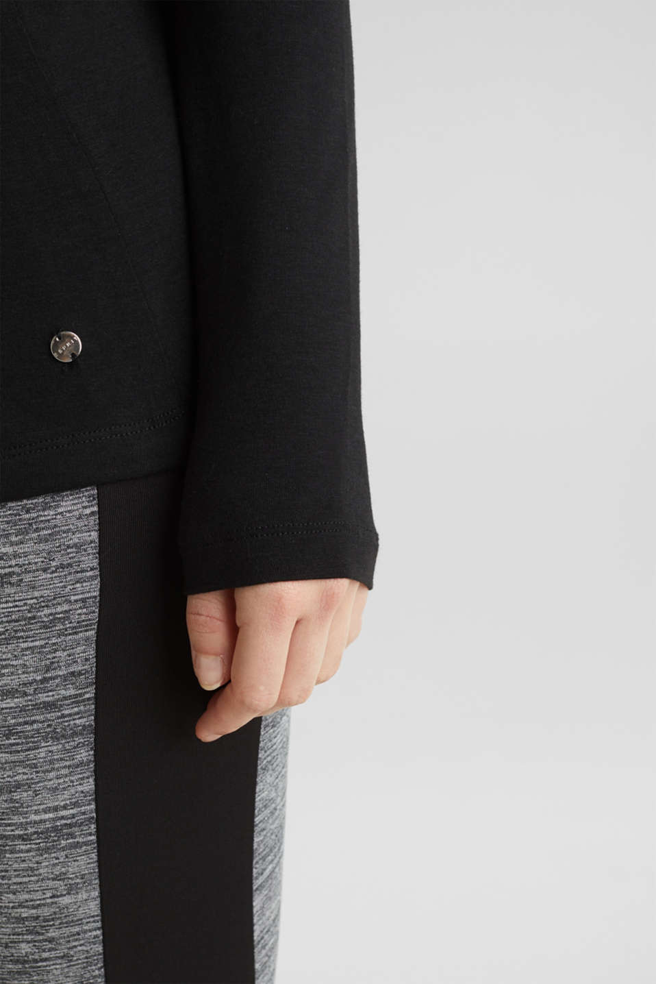 Stretch long sleeve top with contrast stitching, LCBLACK, detail image number 5