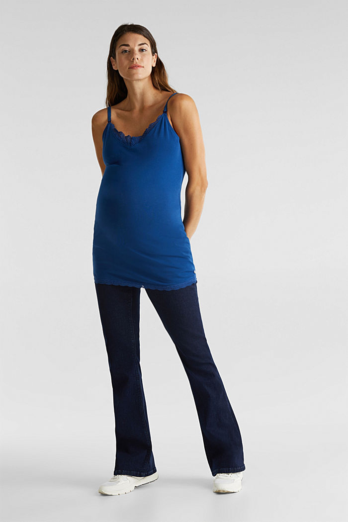 Nursing top with lace and stretch, BRIGHT BLUE, detail image number 0