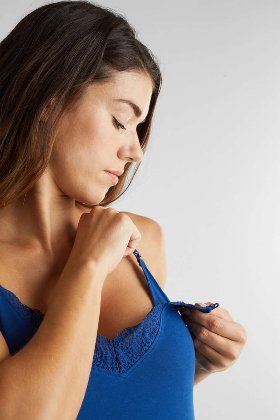 Nursing top with lace and stretch, LCBRIGHT BLUE, detail image number 3