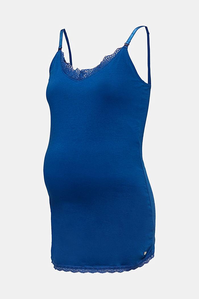 Still-Top mit Spitze und Stretch, BRIGHT BLUE, detail image number 6