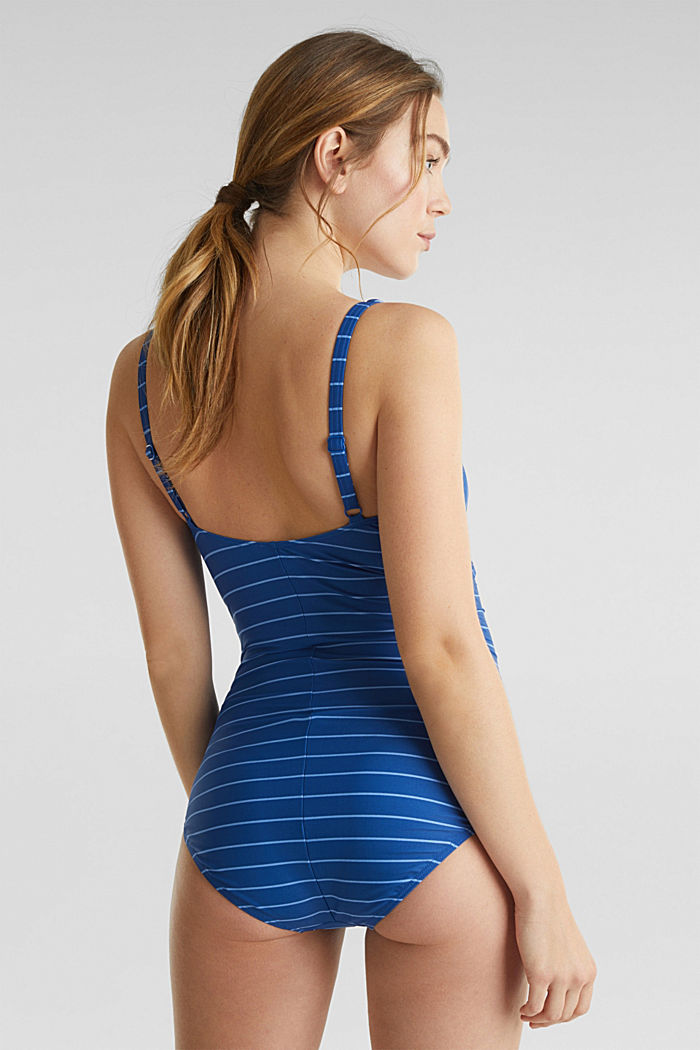 Padded swimsuit with stripes, BRIGHT BLUE, detail image number 1