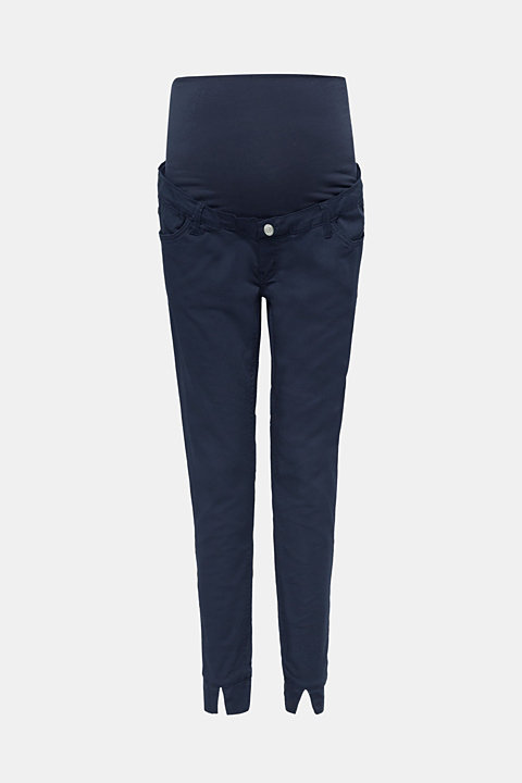 Cropped stretch trousers with an over-bump waistband