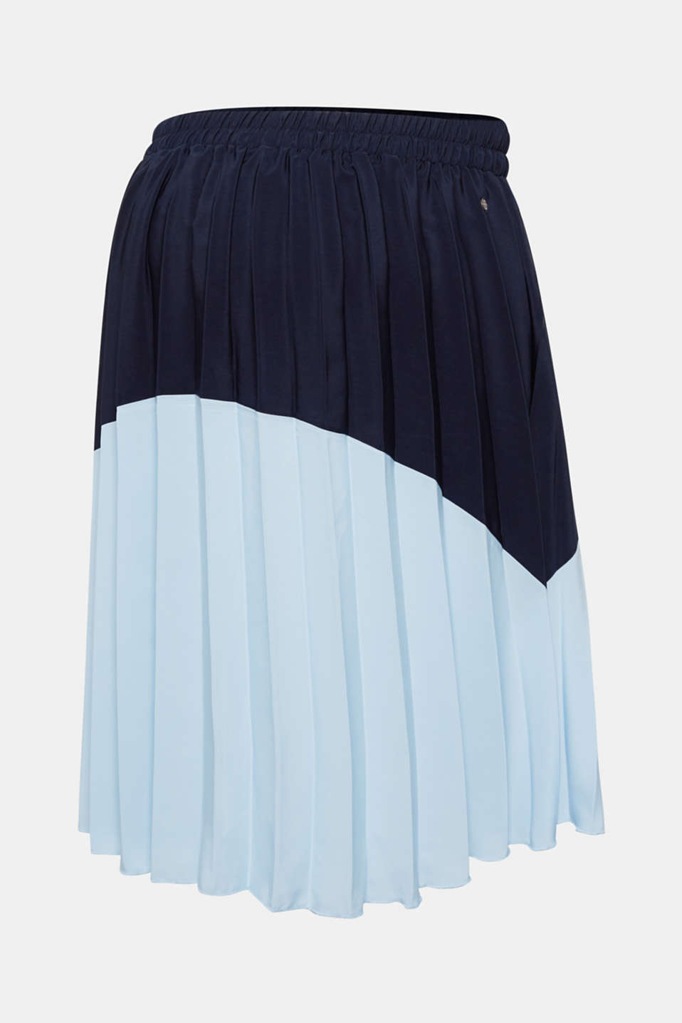 Bi-colour pleated skirt with an elasticated waistband, LCNIGHT BLUE, detail image number 1