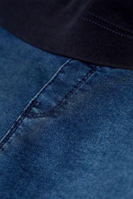 Stretch denim skirt with an over-bump waistband, LCDARKWASH, detail