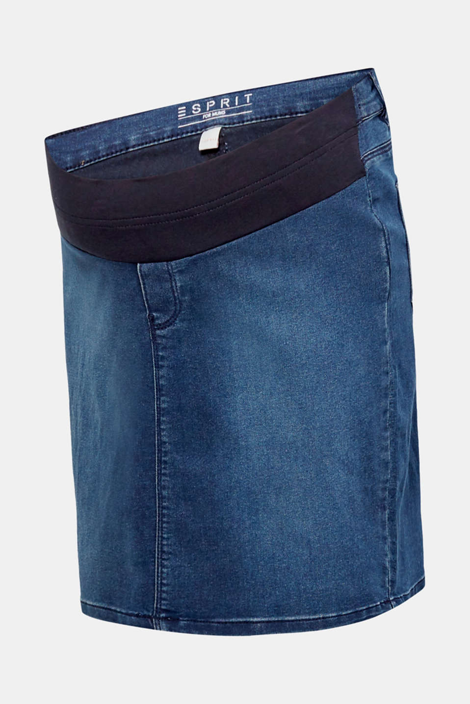 Stretch denim skirt with an over-bump waistband, LCDARKWASH, detail image number 0