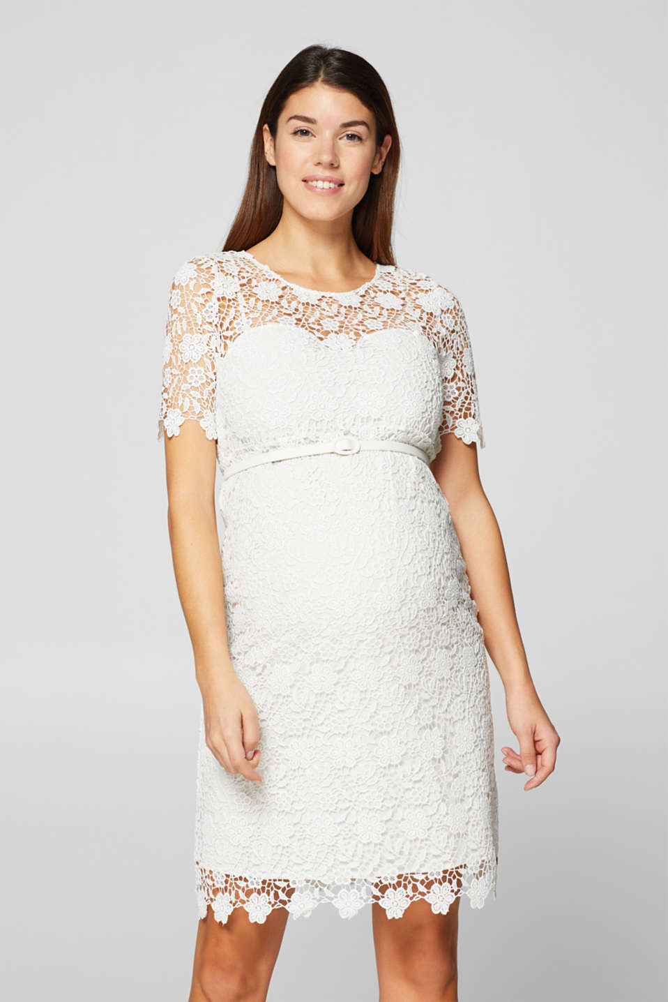 Esprit - Crocheted lace dress with a belt