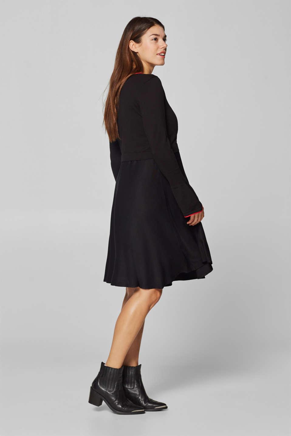 Mixed material nursing dress, LCBLACK, detail image number 1