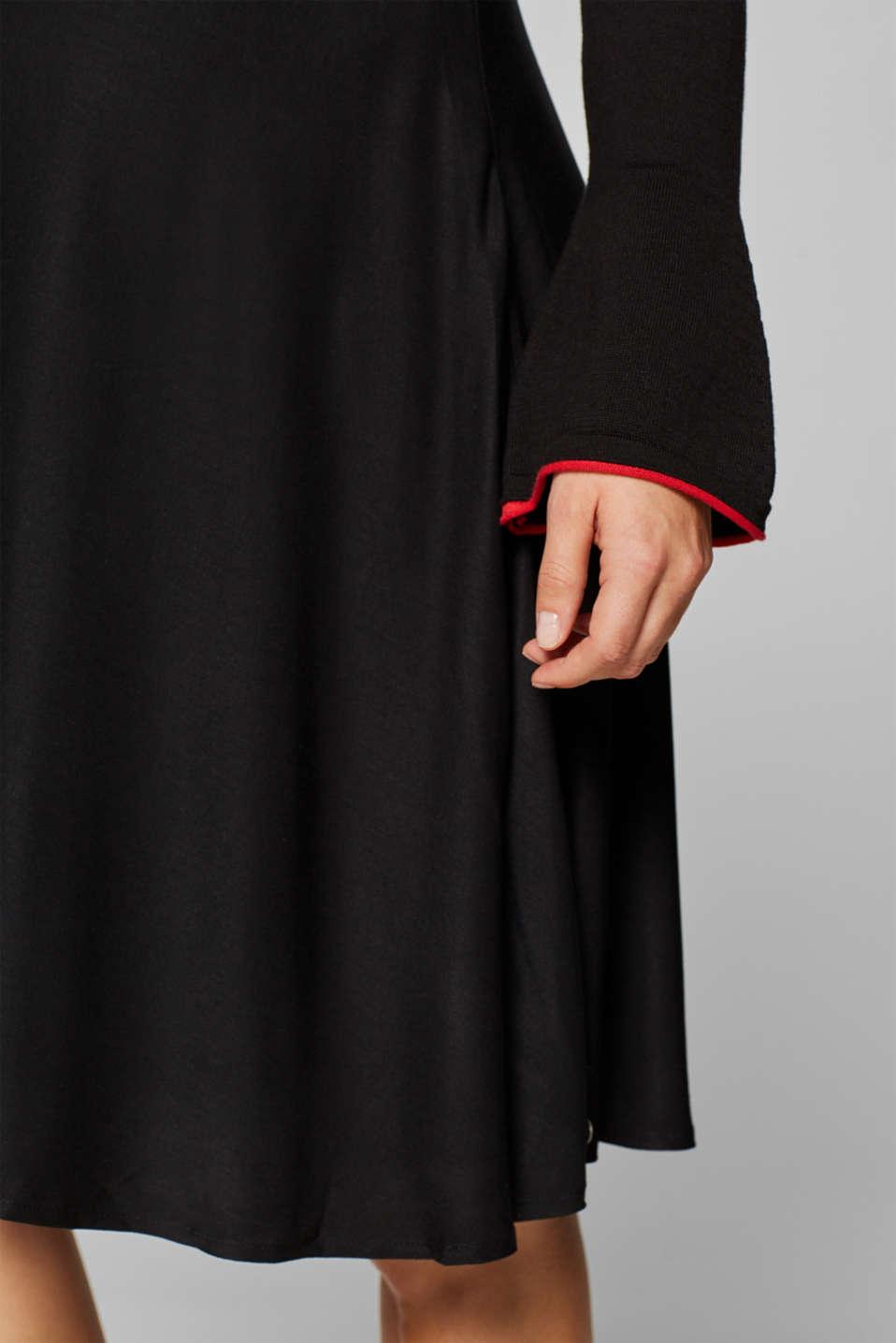 Mixed material nursing dress, LCBLACK, detail image number 6