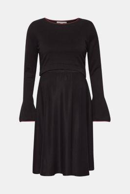 Mixed material nursing dress, LCBLACK, detail