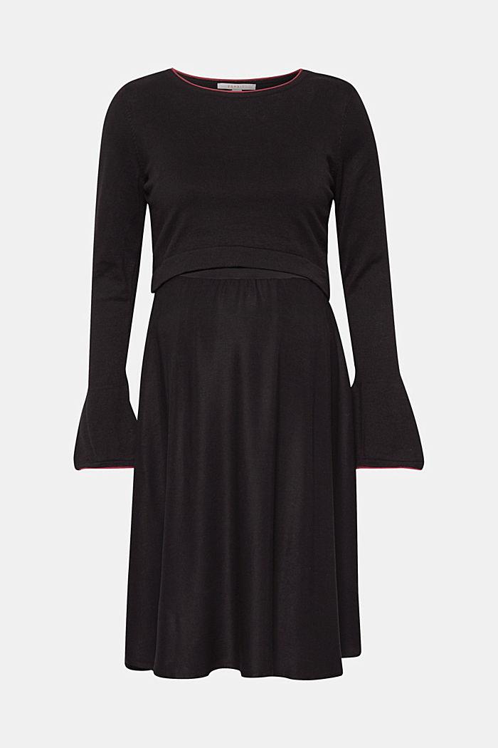 Mixed material nursing dress, BLACK, detail image number 0