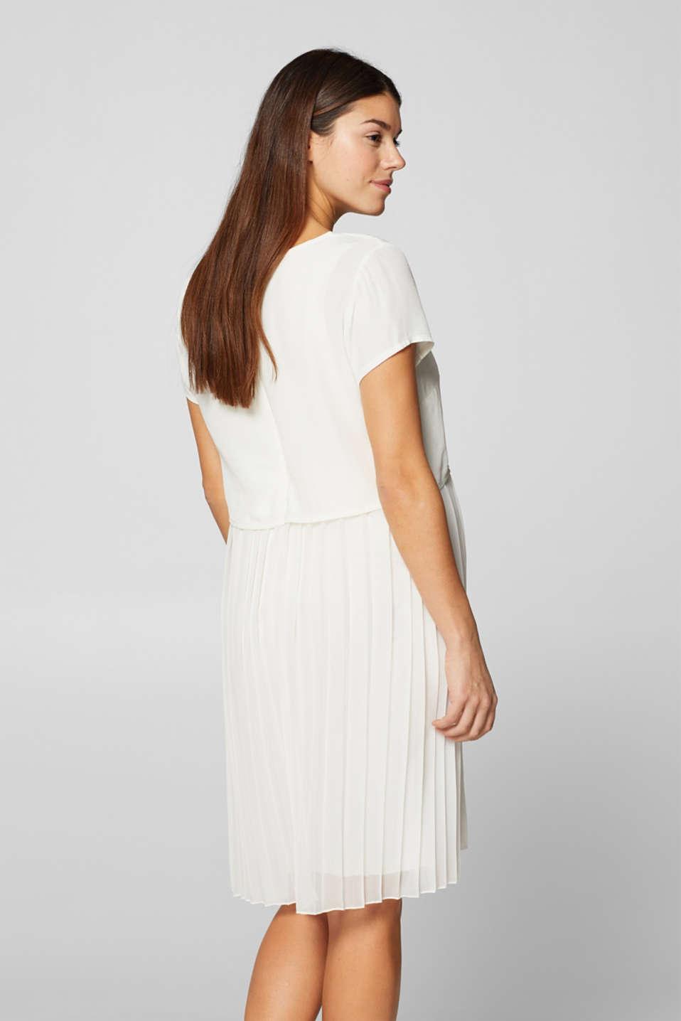 Mixed material nursing dress, LCOFF WHITE, detail image number 3