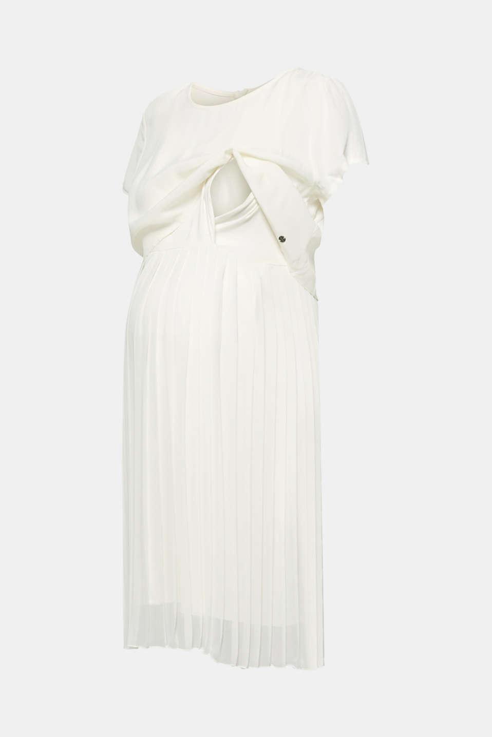 Mixed material nursing dress, LCOFF WHITE, detail image number 5