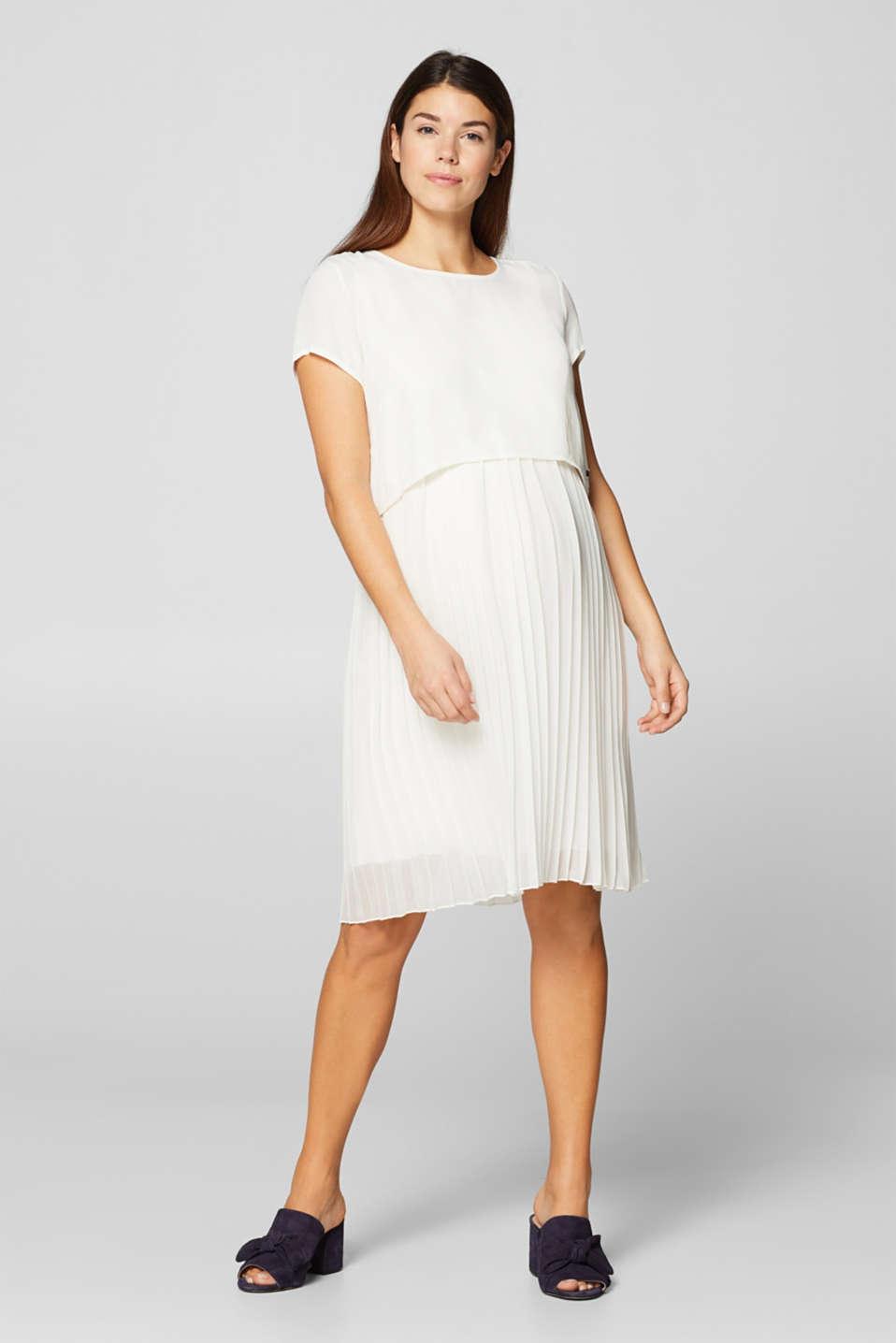 Mixed material nursing dress, LCOFF WHITE, detail image number 1
