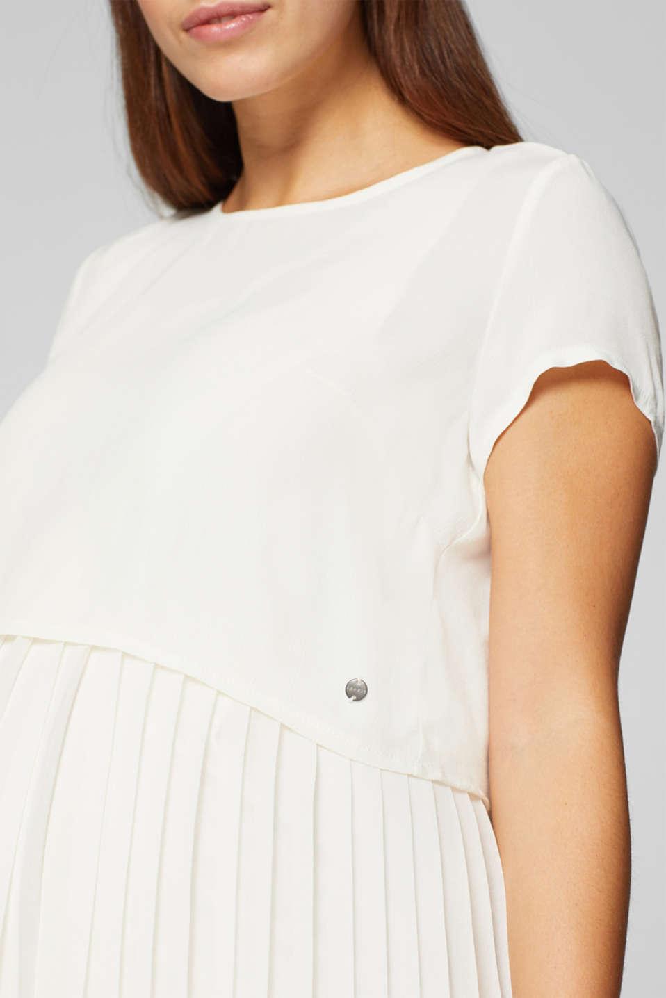 Mixed material nursing dress, LCOFF WHITE, detail image number 2