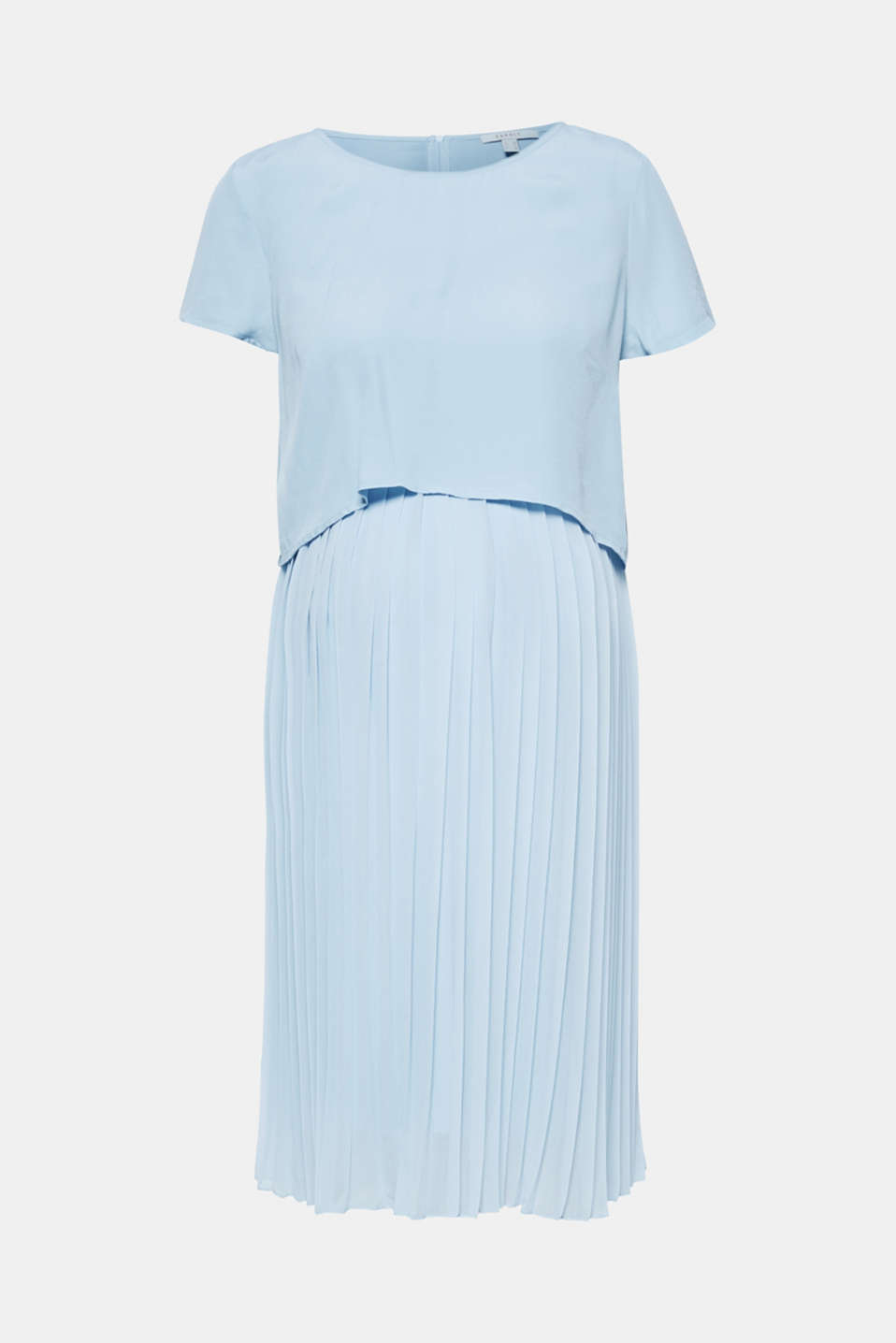 Mixed material nursing dress, LCLIGHT BLUE, detail image number 0