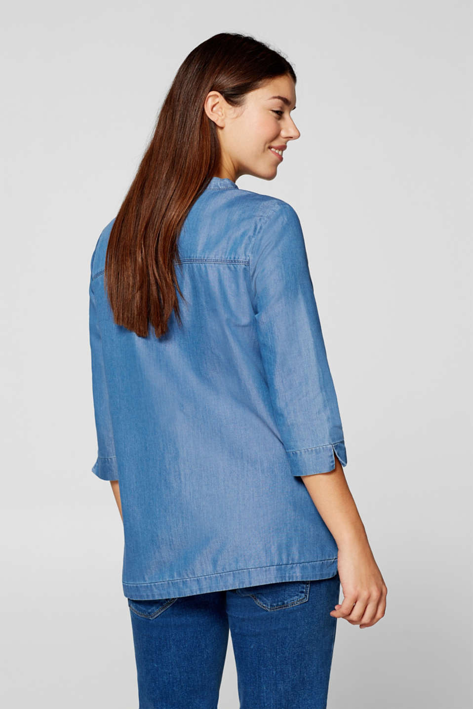 Denim blouse with three-quarter length sleeves, LCBRIGHT BLUE, detail image number 3