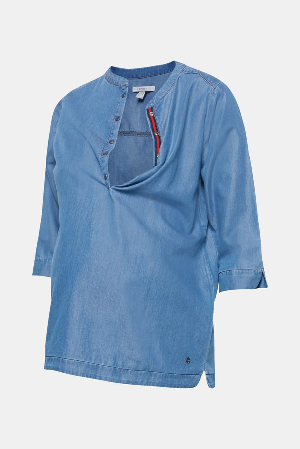 Denim blouse with three-quarter length sleeves, LCBRIGHT BLUE, detail image number 6
