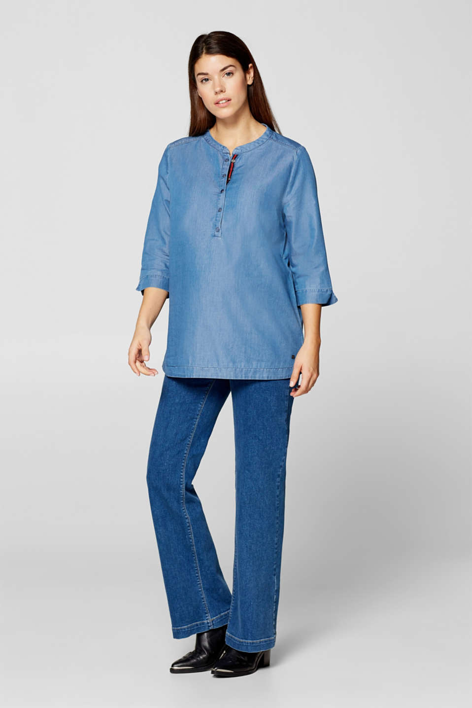 Denim blouse with three-quarter length sleeves, LCBRIGHT BLUE, detail image number 1
