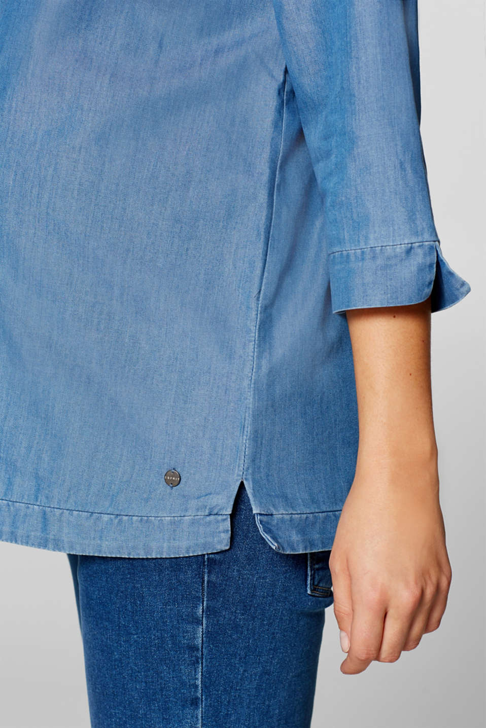Denim blouse with three-quarter length sleeves, LCBRIGHT BLUE, detail image number 2