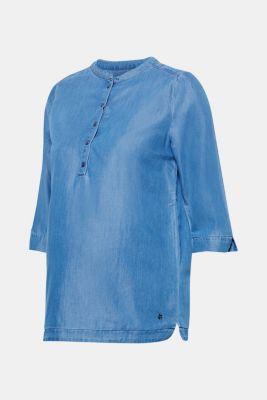 Denim blouse with three-quarter length sleeves, LCBRIGHT BLUE, detail