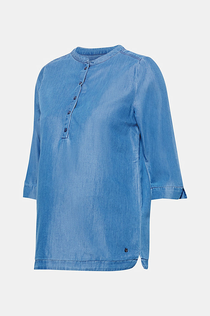 Denim blouse with three-quarter length sleeves