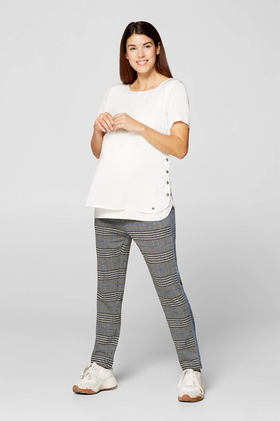 Mixed material top with a nursing function, LCOFF WHITE, detail image number 1