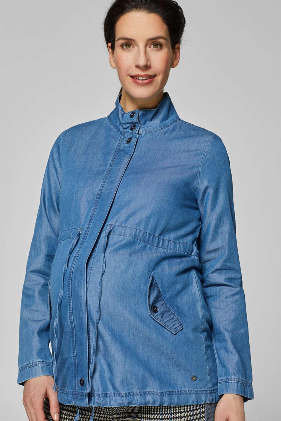 Lightweight denim parka, LCBRIGHT BLUE, detail image number 0