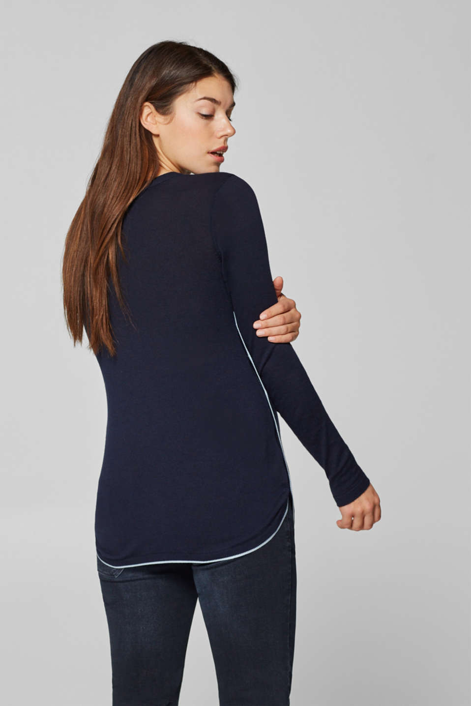Jumper with contrast details and buttons, LCNIGHT BLUE, detail image number 3