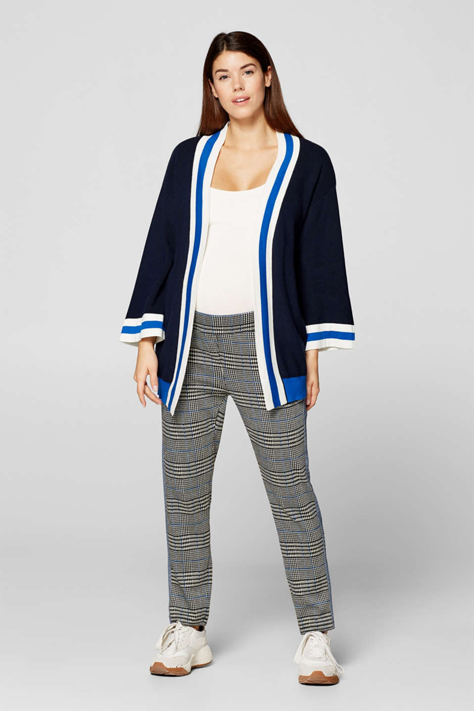 Cardigan with striped details, LCNIGHT BLUE, detail image number 1