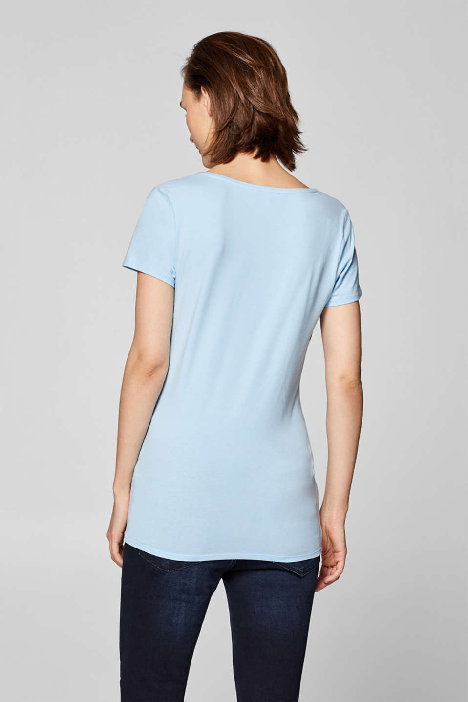 Stretch T-shirt with shiny stripes, LCLIGHT BLUE, detail image number 1
