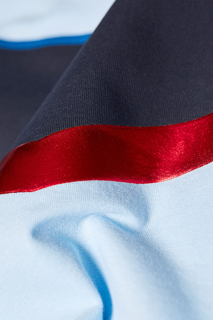 Stretch T-shirt with shiny stripes, LIGHT BLUE, detail image number 0