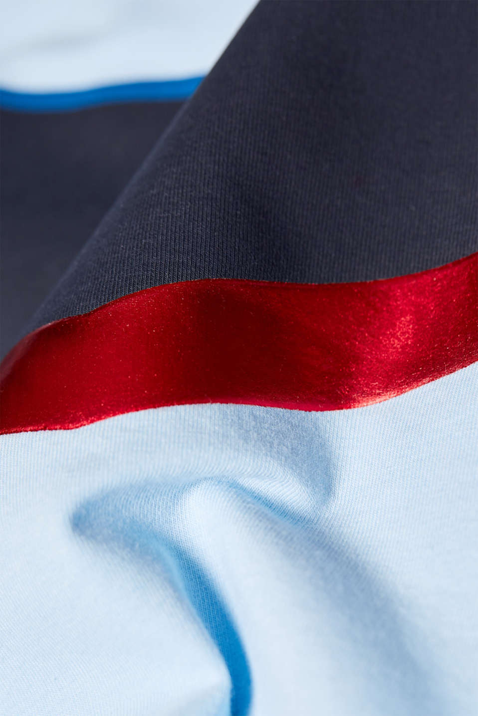 Stretch T-shirt with shiny stripes, LCLIGHT BLUE, detail image number 2
