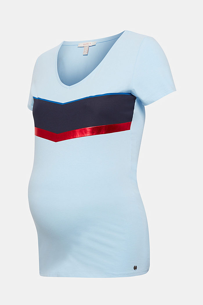 Stretch T-shirt with shiny stripes, LIGHT BLUE, detail image number 1